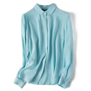 Basic Blouse manches longues femmes 100% soie naturelle Cardigan Office Lady femmes solides shirt de qualité Ciel Bleu Blanc