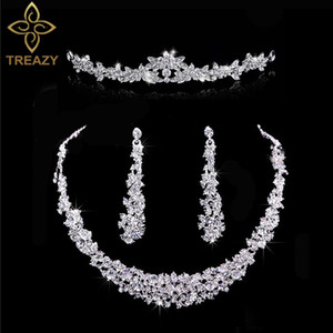 ingrosso moda argento colore cristallo sposa 3pcs set orecchini collana floreale fascia da sposa diadema set di gioielli da sposa per le donne