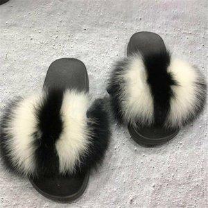Женская Лето Большой размер 45 Fox Fur Fashion Тапочки Пушистый плюша обувь Открытый Fur сандалии Пушистые флип-флоп Indoor Главная меховые обувь