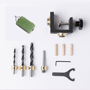 Freeshipping Carpenter Tools Set Wood Drilling Guide Dowel Jig For Corner Edge Surface Joints Drilling Wood Clamp