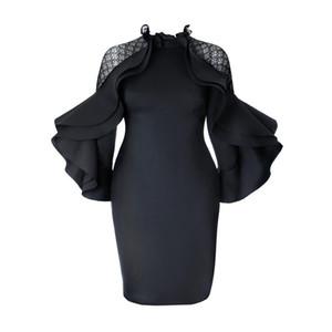 Kinikiss 2018 vestido bodycon outono Falbala zíperes vestido preto plissado senhoras da luva de escritório elegante plus size verão partido