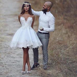 Chérie Courtes plage dentelle Robe de mariée Nouveau Une ligne Robes de mariée Taille personnalisée main Meilleures ventes Mode Appliques Romantique