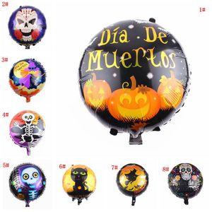 18 inç Cadılar Bayramı Alüminyum Folyo Balon Kabak Kafa Siyah Kedi Baskı Cadılar Bayramı Helyum Balon Cadılar Bayramı Partisi Dekorasyon Çocuk Oyuncak DBC VT0551