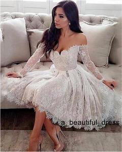 Elegent 레이스 짧은 드레스 웨딩 꺼짐 어깨 무릎 길이 긴 소매 웨딩 드레스와 벨트 환상 신부의 웨딩 드레스