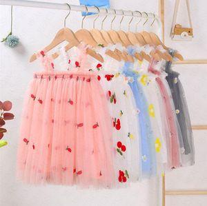 Ins Baby Girls broderie florale Robe imprimée Gaze manches Slip robe d'été pour enfants Princesse Robes enfants Vêtements 80-130CM D61805