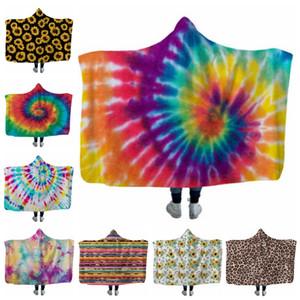 Enfants Throw Blankets Sunflower Hooded Blanket Wearable Fleece Blanket Literie Fournitures Cadeau De Noël Leopard Tie Dye 18 Modèles DW4278