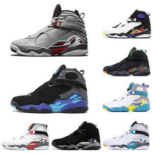 Cheap Valentines Day Aqua White Black 8 8s Men Basketball Shoes Chrome Countdown Pack 3 PEAT VIII Mens Trainers Sports Sneaker size 7-13