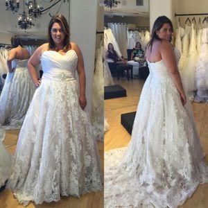 Vintage chérie robe de mariée Une ligne dentelle sans manches Backless Western Robe de mariée Plus Size Custom Made
