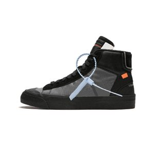 2019 OFF-White x Nike Blazer Les dix nouveautés Blazer Mid All Hallows Eve Baskets Reimers Grim Pale Vanilla Noir-Total Orange Haute Qualité 10X Course à pied