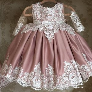 Princess Flower Girl Dresses Long Sleeve Jewel Lace Applique Satin Floor Length Girls Pageant Dresses For Party First Communion Dresses