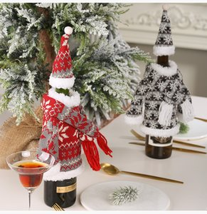 Hot Christmas decoration suit knitting hooded clothes scarf hooded clothes wine bottle set creative party fabric T3I5486