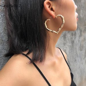 IngeSight.Z Punk Geometric Love Heart Bamboo Hoop Earrings Statement Gold Color Metal Earrings for Women Jewelry Oorbellen Party