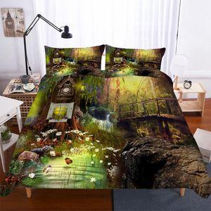 BEST.WENSDL07 Quality Super soft Unicorn Bedding Cartoon Duvet Cover set 3D Dinosaur World bed set 2 3pcs Twin kids bedding