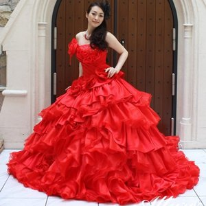 Red Ball Gown Quinceanera Dresses Strapless Neck Beaded Cascading Ruffles Sweet 16 Dress Sweep Train Organza Tiered Masquerade Gowns