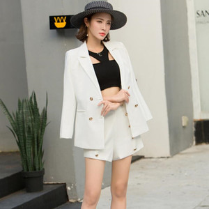 HziriP 2019 элегантный офис Леди короткий костюм 2 шт. Набор женщин твердые двубортный пиджак блейзер + Высокая Талия миди брюки костюмы