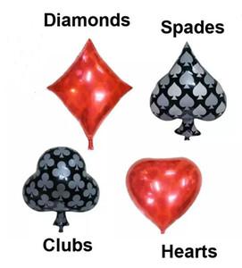 50pcs / lot Kulüpler elmas Maça Kalpler Folyo Balon Casino Kartları Zar Pokeri Parti Süslemeleri Kartları Poker Oynama Malzemeleri
