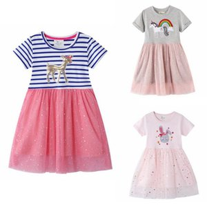 Girls Dresses Lace Spliced Kids Girl Dress Short Sleeve Children Princess Dresses Designer Clothes Boutique Summer Kids Clothing DW5203