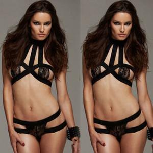 Nouveau Femmes Femmes Jeu de lingerie transparent Strappy lingerie sexy Soutien-gorge G-String Bandage Notte 3FS