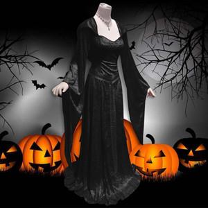 Medieval Vintage Robe celtique manches longues col capuche suqare parole longueur robe gothique Renaissance cosplay costume d'Halloween