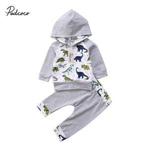 2adet Bebek Giyim Yenidoğan Bebek Erkek Bebek Kız dinozor Uzun kollu Kapşonlu Sweatshirt Pantolon Kıyafetler Seti Giyim 0-2T Tops