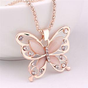 Gioielli Collana animale collana della Rosa maglione placcata oro coreano calda 18k catena Collana Fortunati di cristallo farfalla lunga catena