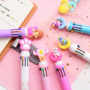 Multi Function 6 en 1 stylo à bille colorée Kawaii Unicorn Multicolor Stylo à bille Rose Star Office école de fournitures de papeterie mignon