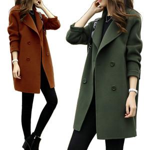 가을 겨울 여성 디자이너 블랜드 패션 단색 Laple 넥 롱 코트 캐주얼 더블 브레스트 슬림 여자 코트