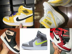 2019 novo 1 ALTA Homem-Aranha Origin Story Schuhe sapatilha do basquetebol HG Freizeit sapatos homens / mulheres / crianças de basquete 1s sneakers OG carmesim Matiz