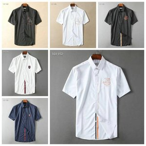 Luxury Mens Designer Short Sleeve Shirts Firmate Business Dress Shirts Fashion Casual Brand Shirt Print Slim Shirt Homme Button Up Tops DS11