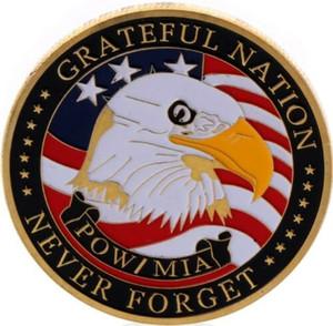 США POW ~ MIA ~ Grateful Nation ~ Никогда не забывайте ~ You Are Not Forgotten ~ Вызов монеты Бесплатной доставкой металл ремесла Позолоченных монеты Бизнес подарок