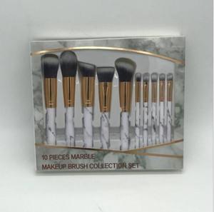 New 10pcs set Marble Makeup Brushes Sets Blush Powder Eyebrow Eyeliner makeup brush set Foundation make up brushes.DHL