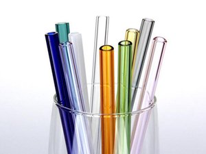 300pcs / lot de cristal colorido Pajas de 20 cm x 8 mm recta pajitas de beber Pajas reutilizable saludable, reutilizable, Eco Friendly