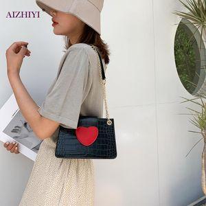 Women PU Love Buckle Chain Shoulder Handbags Fashion Stone Pattern Crossbody Bag Fashion Exquisite Shopping Bag