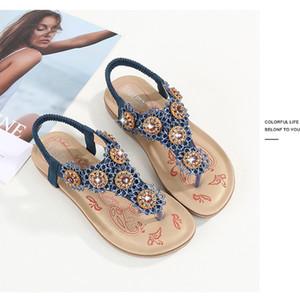 귀여운 꽃 클립 발가락 보헤미아 샌들 여성 아플리케 꽃 고무 밴드 부드러운 솔 높이 증가 신발 여성 크리스탈 반짝