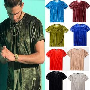 Homens Verão Mens T-shirt Estilo Europeu de veludo T-shirt em torno do pescoço de algodão de manga curta masculina e feminina T-shirt