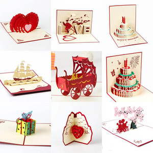 3D ручной работы карты День Валентина день свадьбы карты Cake Cutting стерео Поздравительные открытки на день рождения партии Поздравительная открытка в качестве подарков XD23106