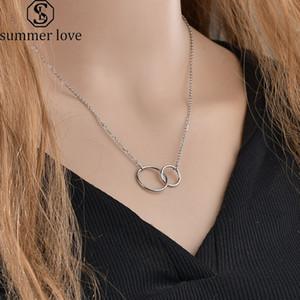 Nouveau collier en acier inoxydable deux Pendentif Cercle pour femmes doubles anneaux cercles entrelacés Infinity Linked Anneaux Meilleur Amitié Colliers