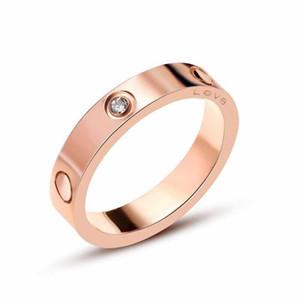 Melhor Personalidade banhado Amor de venda parafuso de titânio Aço Rosa de Ouro 18K menina Masculino Simples Casal selvagem Gem atacado anel da jóia