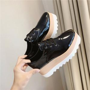 Damenschuhe Lackleder schnüren sich oben starke Ferse Erhöhte flache Plattform Oxford Schuhe Damen Loafers feste beiläufige Plus Size