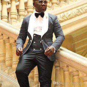 أحدث تصميم زر واحد أسود مع النقاط العريس البدلات الرسمية رفقاء العريس أفضل رجل الدعاوى رجالي الزفاف السترة الدعاوى (سترة + سروال + سترة + التعادل) رقم: 492