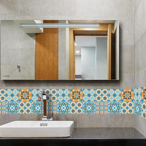Blau Orange Texture Tile Subventionen Europäischen A Wohnzimmer Küche Toilette Hintergrund Parkett Kristall-Wand-Aufkleber Sj027