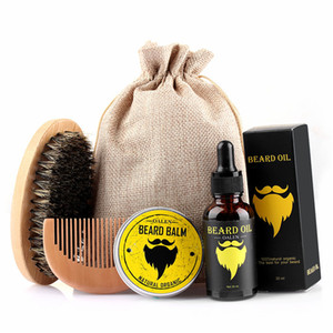 Men Moustache Cream Beard Oil Kit 5pcs set with Moustache Comb Brush Storage Bag Styling Beard Set