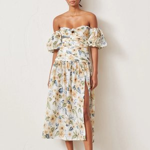 Summer 2020 New Australian Retro Straight Shoulder Bandeau Print Split Puff Sleeve dress