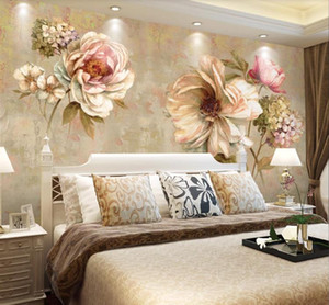 النفط 3D خلفيات ريترو اللوحة زهرة النمط الأوروبي جداريات نوم غرفة المعيشة تلفزيون أريكة خلفية الجدار لوحات ديكور المنزل