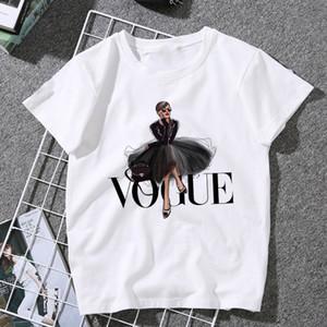 VOGUE mektup Baskılı Yeni Moda vadim Yaz Kısa Kollu Casual Shein Harajuku Trend Stil O-Boyun Kadınlar başında Tops