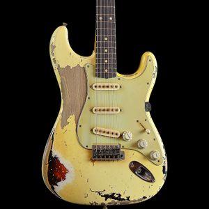 Masterbuilt John Cruz 1961 Pin-Up St ثقيلة Relic Olympic White Over 3 Tone Sunburst الغيتار الكهربائي الجسم ألدر، وردة الأصابع،