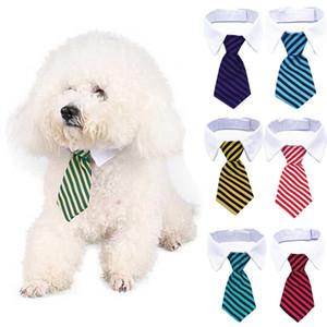 Réglable Stripe Dog Pet Bow Tie petit chat animal rayé cravate collier mignon Bowtie Collier pour chien cravate blanche collier de chien cravate BH2797 TQQ