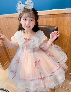 Girl Lolita Dress 2020 Summer new Lace Collar Bowtie Fluffy Tulle Short sleeve Dress Princess Dress Kids Clothes E20062