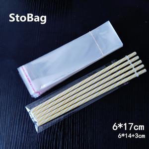 Stobag 1000pcs 6 * 17cm transparentes sello auto-adhesivo bolsas de plástico OPP largo celofán Slender regalo caramelo de la joyería Embalaje Bolsita
