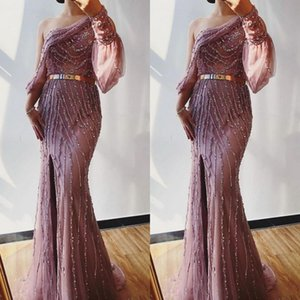 Charming One Shoulder Tulle Mermaid Formal Evening Dress Custom Made Beading Long Sleeve Prom Gowns With Side Split